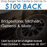 Get up to $100 back when purchasing a set of four qualifying tires from our list of eligible brands. Click to view rebate form. Offer valid October 1 – November 30, 2017.