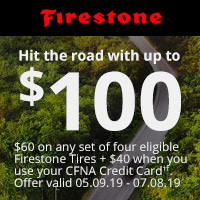 HIT THE ROAD WITH UP TO $100. $60 on any set of four eligible Firestone Tires + $40 when you use your CFNA Credit Card††. Valid 05.09.19 – 07.08.19