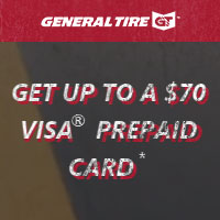 Receive up to a $70 Visa Prepaid Card with the purchase of 4 qualifying tires.