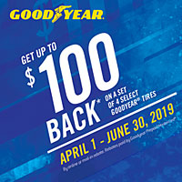 Get up to $100 back on a set of 4 select Goodyear® tires