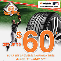 <p>Buy a set of four (4) select Hankook tires and get a up to $60 by mail-in rebate.</p>