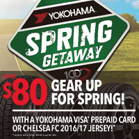Buy a set of four of the below Yokohama tires and you'll be eligible to receive a Yokohama visa prepaid card, up to $80, or chelsea fc 2016/17 jersey!