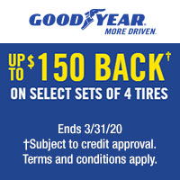 Buy 4 select Goodyear tires from January 1 to March 31, 2020 and get up to $150 back by online or mail-in rebate when you use the Goodyear Credit Card.