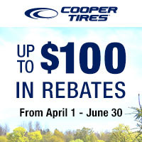 Get up to $100 Cooper Tires Prepaid Card or Virtual Account by mail with a purchase of four eligible Cooper Tires.