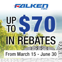 Purchase of a set of four (4) eligible Falken tires between March 15th and May 31st, 2020 and get up to $70 in mail-in rebate.