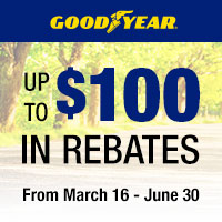 Purchase of a set of four (4) eligible Goodyear tires between March 16th and June 30th, 2020 and get up to $100 in mail-in rebate.