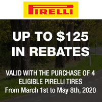 Purchase four (4) eligible passenger Pirelli tires between 03/01-05/08/2020 and get up to $100 or $125 CAA dollars via mail-in rebate.