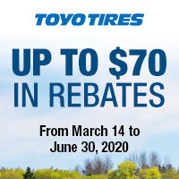 Purchase four (4) new Qualifying Toyo tires between 03/14-05/31/2020 and get up to $70 in mail-in rebate.
