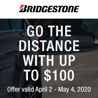 Get up to $70 Visa® Prepaid Card (+ $30 when you use your CFNA Credit Card) with a purchase of four Bridgestone select tires.