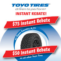 Purchase a set of four (4) eligible Toyo tires and get up to $75 instant rebate by mail from May 15 to June 15, 2020.