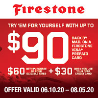 Buy 4 qualifying Firestone tires and receive a $60 reward by mail-in rebate from June 10, 2020 to August 5, 2020.