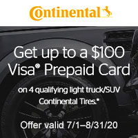 <p>Get up to a $100 Continental Tire Visa Prepaid Card with the purchase of