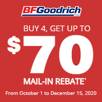 Get a $70 mail-in rebate with the purchase of 4 new BFGOODRICH® passenger or light truck tires.