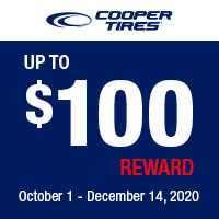 Get up to a $100 mail-in rebate with the purchase of new set of four (4) qualifying Cooper® tires.