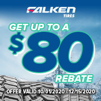 Get up to $80(CAD) back by mail with the purchase of 4 Falken Tires.