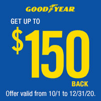 Get up to $150 back via a rebate on a purchase of a set of 4 select Goodyear tires.