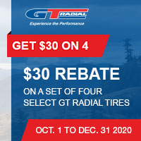 Get up to $30 GITI Visa® Prepaid Card by mail-in rebate with a purchase of select GT Radial Winter Tires.