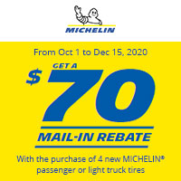Get a $70 mail-in rebate with the purchase of 4 new Michelin passenger or light truck tires.