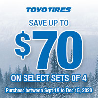 Get up to $70 by mail-in rebate with a purchase of 4 qualifying Toyo Tires.
