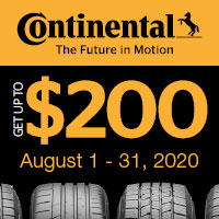 Buy 4 qualifying light truck/SUV Continental Tires between 8/1/20 and 8/31/20 and receive up to a $200 Continental Tire Visa Prepaid Card.