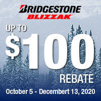 Get up to $100 Bridgestone Visa® Prepaid Card by mail with the purchase of 4 eligible tires. OFFER VALID 10.05.20–12.13.20