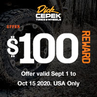 Buy a new set of four (4) qualifying Dick Cepek Tires and get $100 Visa Prepaid Card by mail-in rebate.
