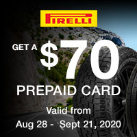 Get $70 Prepaid Visa® Card by mail-in rebate with a purchase of any new, matching set of four (4) select qualifying Pirelli Tires from participating dealers.