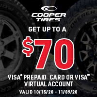 Get up to a $70 Visa Prepaid Card or Visa Virtual Account when you buy a set of four qualifying tires.