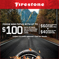 Earn up to a $100 Visa® Prepaid Card after submission* when you buy a set of 4 new qualifying tires.
