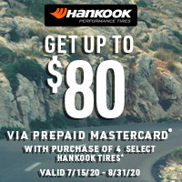 Get up to $80 via prepaid Mastercard® with purchase of 4 select Hankook Tires. Valid 7/15/20 - 8/31/20.