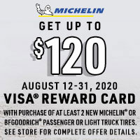 For a limited time, bundle purchases of at least two new MICHELIN® or BFGoodrich® passenger or light truck tires and get up to a $120* Visa® Reward Card after online submission.