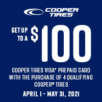 Get up $100 back by mail when you buy 4 eligible Cooper Tires.