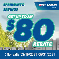 Get up $80 back by mail when you buy 4 eligible Falken Tires.