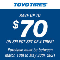 Get up $70 back by mail when you buy 4 eligible Toyo Tires.
