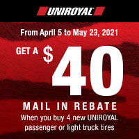 Get up $40 back by mail when you buy 4 eligible Uniroyal Tires