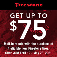 Buy 4 eligible Firestone tires and get up to a $75 rebate.