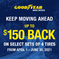 Buy 4 eligible Goodyear tires and get up to a $150 rebate.