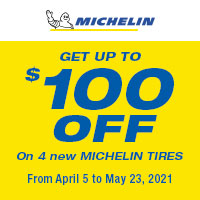 Buy 4 eligible Michelin tires and get up to a $100 rebate.
