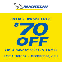 Get $70 off on 4 new Michelin® Tires**