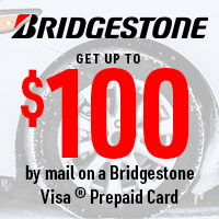 Get up to $100 back by mail on a Bridgestone Visa™ Prepaid Card with the purchase of 4 eligible Blizzak tires.