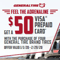 <p>Get a $50 Visa Prepaid card when you buy 4 General Tire Brand Tires via mail in rebate. Offer is from January 1 to February 29, 2020.</p>