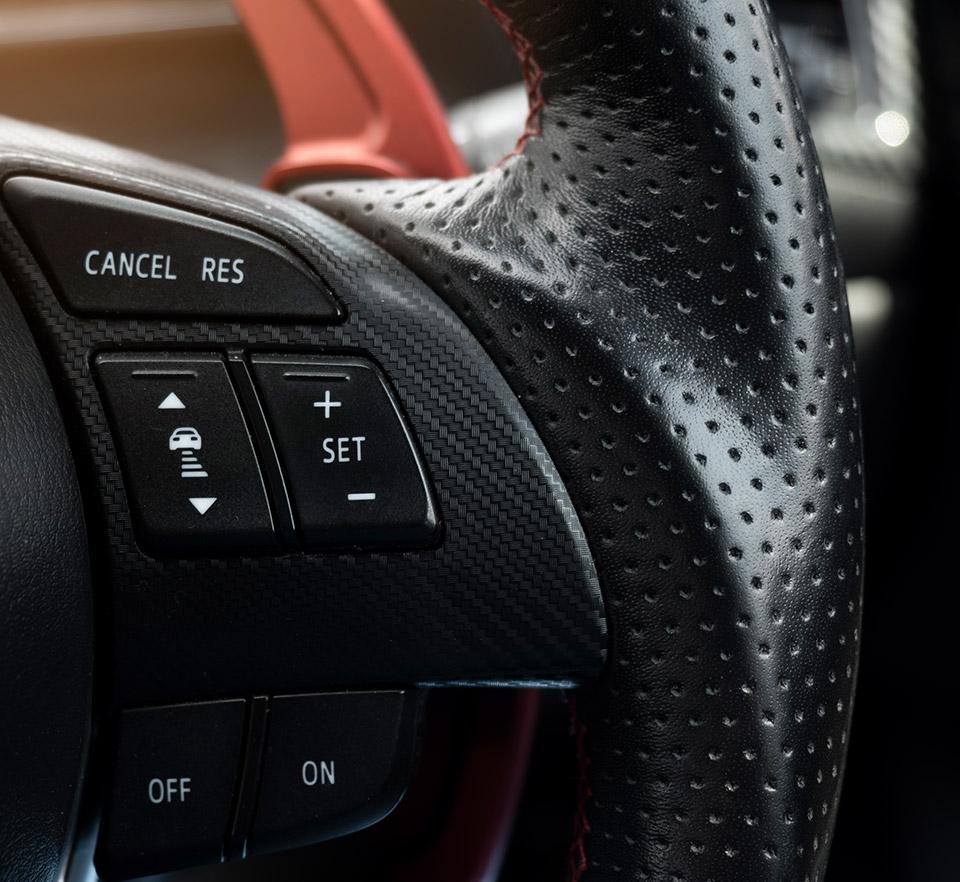 close up of car steering wheel