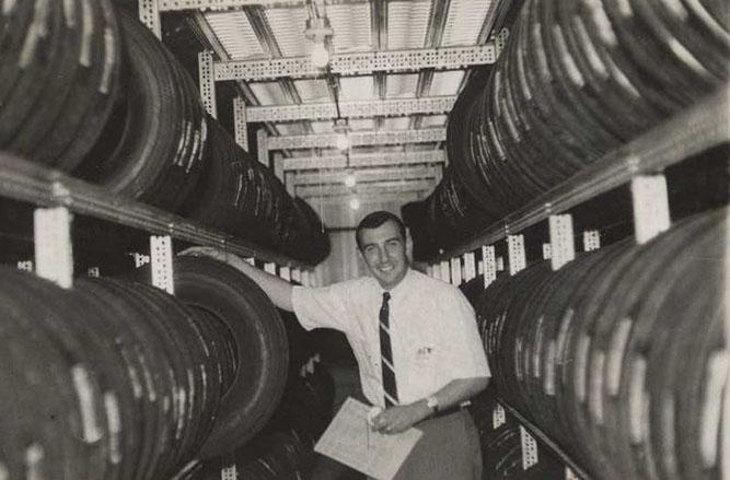 larry pisciotta at his tire store in 1966