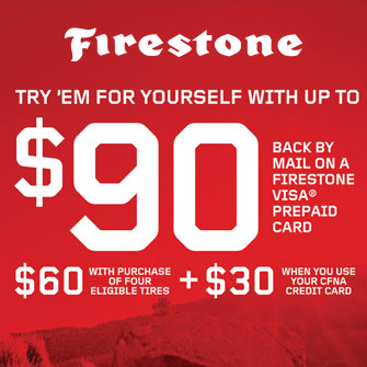 $90 ($60 with purchase of 4 Eligible Tires + $30 when you use your CFNA Credit Card) back by mail on a Firestone Visa Prepaid Card.