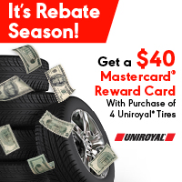 Get a $40 Mastercard Reward Card with purchase of 4 Uniroyal Tires