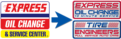 express oil change service center logo to express oil change tire engineers logo