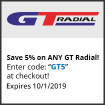 Save 5% on ANY GT Radial! Enter code