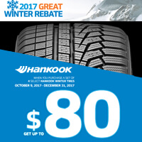 Buy 4 select Hankook tires from October 9 to December 31, 2017 and get up to $80 mail-in rebate.