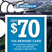 <p>Buy any 4 new MICHELIN<sup>®</sup> passenger or light truck tires from November 15 to December 11, 2017 and get $70 Reward Card after submission.</p>