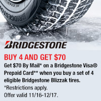 <p>Don't let the snow and ice catch you off guard this winter, be prepared with a new set of Bridgestone tires.</p>